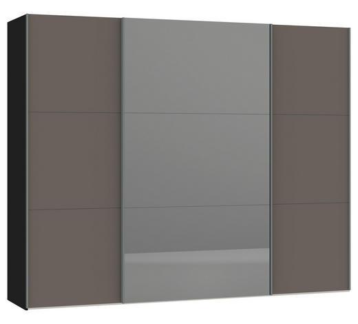 SCHWEBETÜRENSCHRANK in Grau, Schwarz - Silberfarben/Schwarz, Design, Glas/Holzwerkstoff (278/220/65cm) - Jutzler