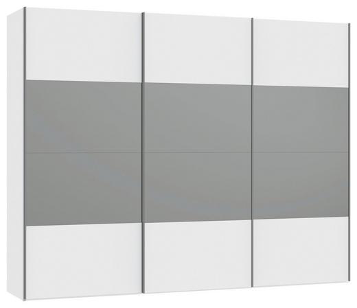SCHWEBETÜRENSCHRANK 3  -türig Weiß - Silberfarben/Weiß, Design, Glas/Holzwerkstoff (303,1/236/65cm) - JUTZLER