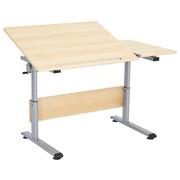 Jugendschreibtisch - Silberfarben/Ahornfarben, Basics, Holzwerkstoff/Metall (130/70cm) - Paidi