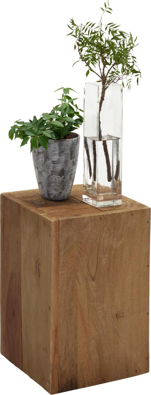 BLUMENSÄULE Holz Recyclingholz, Teakholz massiv - Teakfarben, Trend, Holz (30/45/30cm) - Ambia Home
