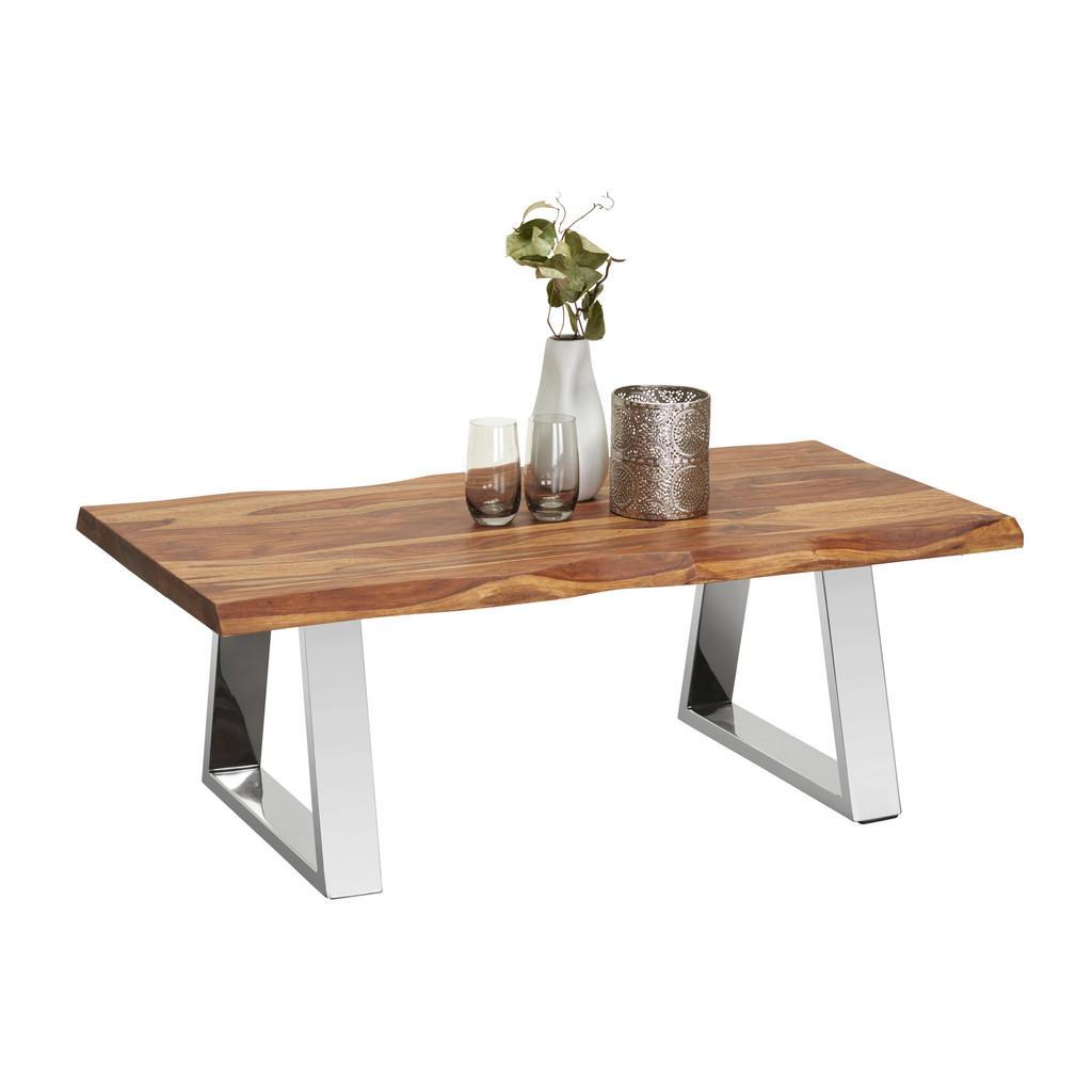 Couchtisch mit Baumkantentischplatte aus Palisanderholz