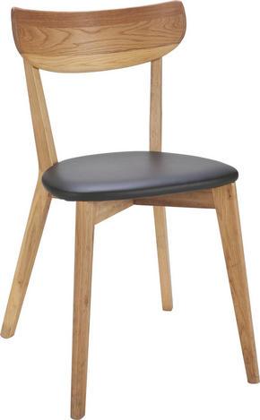 STOL - svart/ekfärgad, Klassisk, trä/plast (44/80/46cm) - Rowico