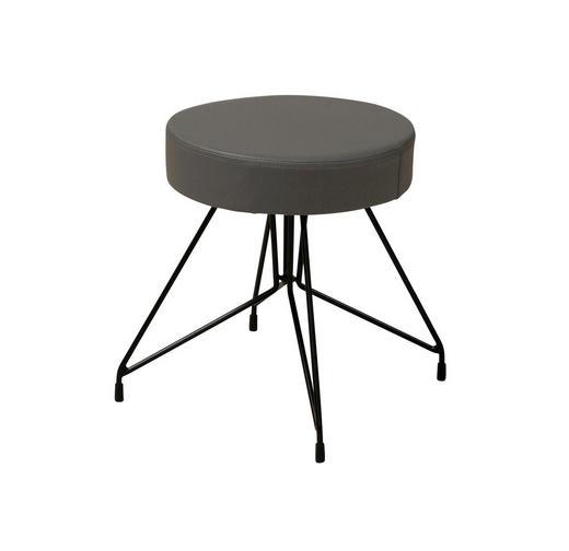 HOCKER Lederlook Dunkelgrau, Schwarz - Dunkelgrau/Schwarz, Design, Textil/Metall (37/40,5cm) - Carryhome