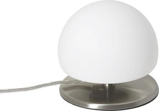 TISCHLEUCHTE - Weiß/Nickelfarben, KONVENTIONELL, Glas (15/13cm)