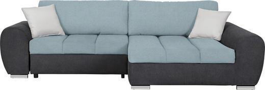 WOHNLANDSCHAFT Flachgewebe Bettkasten, Rückenkissen, Schlaffunktion, Zierkissen - Chromfarben/Dunkelgrau, Design, Textil (290/175cm) - Carryhome
