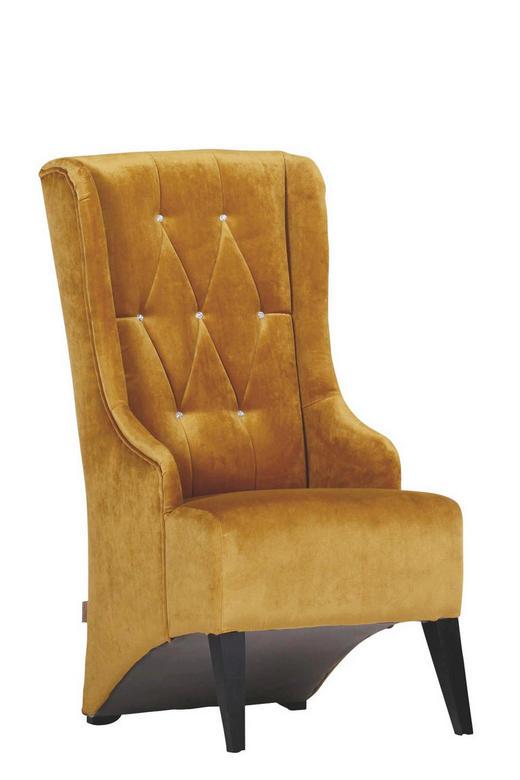 OHRENSESSEL Velours Gelb - Gelb/Schwarz, Design, Holz/Textil (60/115/73cm)